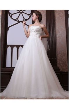 A-line Strapless Chapel Train Tulle Satin Wedding Dress With Veil