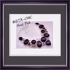 """H.P.  Black Onyx Necklace NEW WITHOUT TAGS.   100 GRAMS-BLACK ONYX-WHITE TOPAZ-SMOKY STONE .925 SILVER PLATED NECKLACE. 18"""" IN LENGHT. Jewelry Necklaces"""