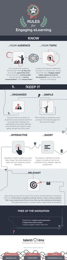 Top Rules of Engaging eLearning Infographic - http://elearninginfographics.com/top-rules-engaging-elearning-infographic/