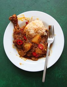 Peruvian Chicken Stew by Saveur. The brightly colored and intensely fruity Andean pepper known as ají amarillo gives this traditional stew a bold but nuanced character. Peruvian Chicken Stew Recipe, Stew Chicken Recipe, Chicken Recipes, Recipe Stew, Chicken Soups, Peruvian Dishes, Peruvian Cuisine, Peruvian Recipes, Pollo Guisado
