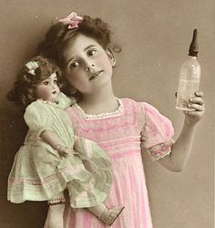 Little girl and doll vintage, classic retouching go the era