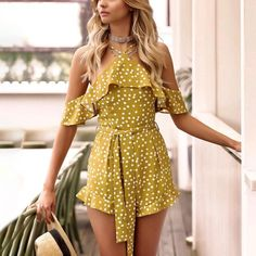 2018 New Sexy Polka Dot Short Jumpsuit Romper - Women's Fashion Polyvore Outfits, Overall Shorts, Casual Cotton Dress, Cotton Dresses, Off Shoulder Romper, Cold Shoulder, Boutique Fashion, Polka Dot Shorts, Short Jumpsuit