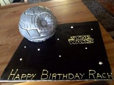 Death Star cake for my awesome friends birthday. Death Star is chocolate mudcake, with chocolate ganache and then fondant. Writing done with royal icing.