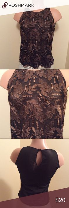 Copper lace top Copper color lace top - scalloped edge - fully lined - NWT - Nieman Marcus labeled priced at $130 nieman marcus Tops Camisoles