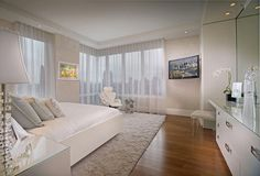 Bedroom, Charming Bedroom Design Along With White Large Bed And Pillows As Well As Fur Rug And Wooden Parquet: Designing bedroom with huge b...