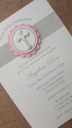 Handmade Communion/Christening/Baptism Invitations **Please do not purchase this item** **Contact me with your required quantity and I will