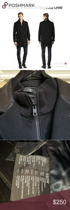 🆕 Andrew Marc Wool Top Coat Removable Leather Bib Designed in collaboration with Richard Chai, a classic over coat in a rich wool blend with contrast leather collar, zip-removable placket with knit mock collar, insulated. Sold out in stores!   *Brand new! The Andrew Marc label is lifted a little on one side due to trying on in store, but it's not noticable at all as you can see in the fourth photo! Great deal on this beauty!    75% Wool/20% Camel Hair/5% Silk;  Trim: 100% Leather…