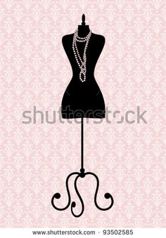 Vector illustration of a black tailor's mannequin. Elements are grouped and…