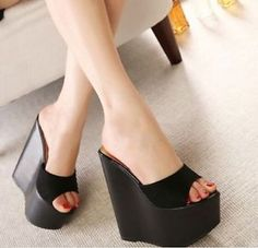 Party Women Super High Heels Platform Wedge Sandals Slides Pumps Open Toe Shoes