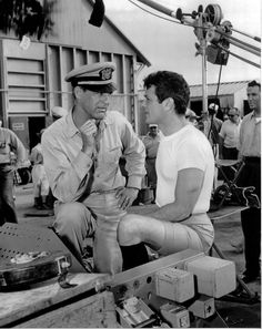 """ Tony Curtis and Cary Grant .on the set - ""Operation Petticoat"", 1959 "" "" Tony Curtis and Cary Grant .on the set - ""Operation Petticoat"", 1959 "" Tony Curtis, Jamie Lee Curtis, Hollywood Icons, Golden Age Of Hollywood, Hollywood Stars, Classic Hollywood, Old Hollywood, Hollywood Images, Hollywood Photo"