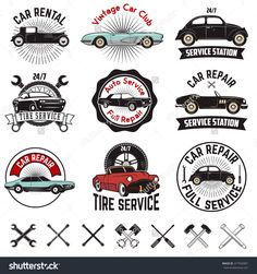 Set of Car repair service labels. Retro vector design graphic element, emblem, logo, insignia, sign, identity, logotype, poster. Vector design elements.