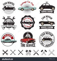 Set of Car repair service labels. Retro vector design graphic element, emblem, logo, insignia, sign, identity, logotype, poster. Vector design elements.