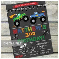 Monster Truck Birthday Invitations Chalkboard Invitation Monster