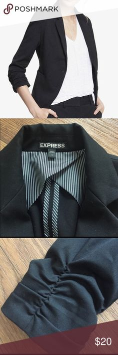 Black Blazer Express Black blazer from Express studio stretch, ruched sleeves, size 0, it has been dried cleaned Express Jackets & Coats Blazers