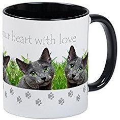 Russian Blue Cat Mug - Cats Fill Your Heart Mug - Unique Coffee Mug, Coffee Cup