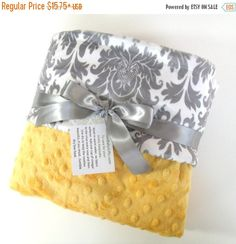 SALE Saffron Yellow and Gray Damask Minky Baby by MinkyBabyGifts