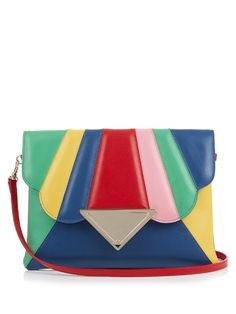 Sara Battaglia Bess rainbow leather clutch Rainbow Bag 5f5c3e4313139