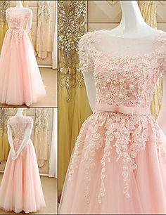 Официальный вечер Платье - Перламутрово-розовый А-силуэт Глубокий круглый вырез В пол Тюль