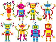 Items similar to Robot Clipart - Digital Vector Robot, Robots, Gear, Boy Party, Colorful Robot Clip Art on Etsy Robot Clipart, Vector Robot, Robots For Kids, Art For Kids, Eps Vector, Vector File, Bicycle Wedding, Girls Clips, My Son Birthday
