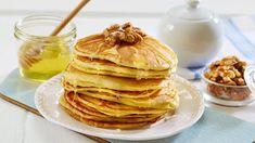 Amerikanske Pannekaker - Oppskrift fra TINE Kjøkken Baked Pancakes, Food And Drink, Appetizers, Cooking Recipes, Sweets, Dessert, Baking, Breakfast, Drinks