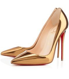 christian louboutin leather pumps Metallic gold peep toes | The ...