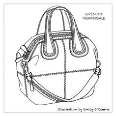 GIVENCHY - NIGHTINGALE BAG - Designer Handbag Illustration / Sketch / Drawing / CAD / Borsa Disegno