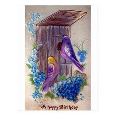 Birds and Bird House Vintage Birthday Postcard