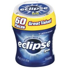 Eclipse Sugar Free Gum, Winterfrost, 60 Piece Big E Bottle ** Trust me, this is great! Click the image. : Fresh Groceries