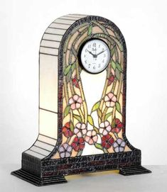 Stained glass clock and lamp Stained Glass Lamp Shades, Stained Glass Light, Stained Glass Ornaments, Stained Glass Projects, Stained Glass Patterns, Stained Glass Windows, Tiffany, Glass Painting Designs, Glass Engraving