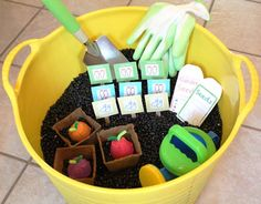 Veggie Garden Sensory Bin - awesome idea and I have all the other materials just lying around, all I would need are the pinto beans.