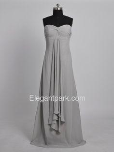 Silver Sheath Sweetheart Floor-Length Chiffon Long Bridesmaid Dress (0706)