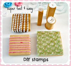 Everyday is a Holiday: fast & easy DIY stamps: perfect for your art journal! We bought a pack of varying size particle board/mdf blocks from either Michaels or AC Moore. I can't remember which...and I think I might have seen them in both stores. They're fairly common. We then gathered some elements like bubble wrap, yarn, beaded strings, and buttons. Then we used a hot glue gun to attach these to the blocks.