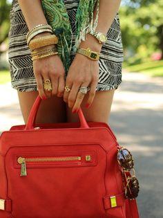 bracelets, bright handbag, brown sunnies