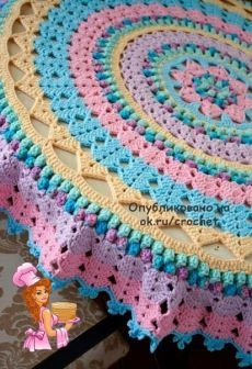 No photo description available.Image gallery – Page 685321268274308190 – Art. - Carola - Her Crochet Crochet Tablecloth Pattern, Free Crochet Doily Patterns, Crochet Circles, Crochet Round, Crochet Squares, Crochet Home, Crochet Motif, Diy Crochet, Crochet Designs