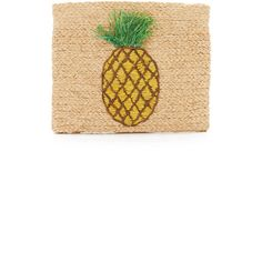 Hat Attack Pineapple Clutch (£38) ❤ liked on Polyvore featuring bags, handbags, clutches, pineapple, straw purses, white clutches, white handbags, striped handbag and woven handbags