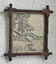 Antique wood criss cross adirondack frame w signed folk art oil painting nr adirondack cool Adirondack bed frame