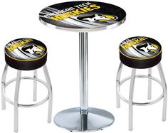 Michigan Tech Huskies D2 Chrome Pub Table Set. Available in two table widths.  Visit SportsFansPlus.com for Details.