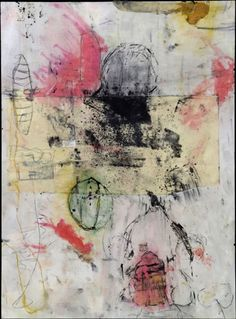 Mary Black     Always Protected  36 x 28.5 Framed  Encaustic Mixed Media on Paper