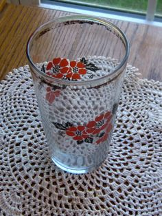Vintage Hall China Red Poppy Drinking Glass 1940 by LeftoverStuff