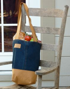 Free Project Kraft-tex used with denim to create a market tote bag I need to try this out!