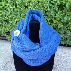 Hand made knit infinity scarf with button, blue with lime geen button by LidiaEvansDesigns on Etsy