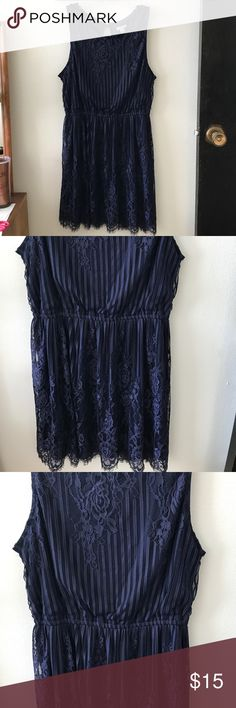 Navy Dress with Lace Overlay Xhilaration Large Worn twice!  Very classic, vintage, and feminine feel.  Perfect to wear for a graduation or wedding. Xhilaration Dresses Midi