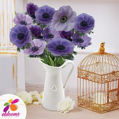 Anemones Lavander Center Fresh Cut flower.  Features:  ✿ 10 Stems Anemones 40-45cm pack 120 stems ✿ Each stem has a minimum of 1 bloom; some stems may have more than one bloom ✿ Anemones may come in with distinctive Black centers; as the flower opens this center color will fade out. ✿ Anemones are a top-heavy flower and their stems have a natural tendency to bend. In order to achieve an upright straight stem, you may need to wire the stem. Lavender Flowers, All Flowers, Bridal Flowers, Fresh Flowers, Bridal Bouquets, Bulk Flowers Online, Carnations, Anemones, Diy Wedding