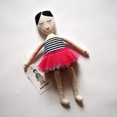 Studio Escargot Ballerina Doll cute french style plushie doll for stuffie lovers big and small, would make great shelf sitter in contemporary retro minimalist scandi chic living space