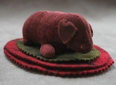 Sale Antique Puppy Dog Wool Felt Pen Wipe