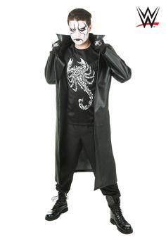 WWE Men's Sting Costume - FOREVER HALLOWEEN Custom Halloween Costumes, Cool Costumes, Sports Costumes, Women Halloween, Creepy Halloween, Halloween Makeup, Halloween Ideas, Black Face Paint, Plus Size Costume
