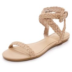Joie Fadi Flat Sandals ($248) ❤ liked on Polyvore featuring shoes, sandals, genuine leather shoes, leather strap sandals, joie, braided sandals and joie sandals