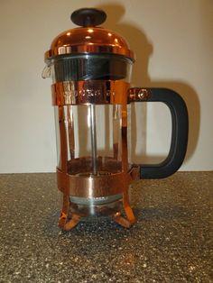Starbucks Anniversary 3 Cup Pyrex Glass Insert Copper Frame 12 oz  Coffee Press #Starbucks