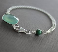 Framed mint color chalcedony stone with turquoise by IngoDesign