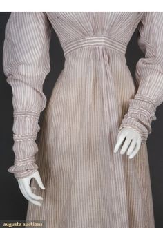 PIN STRIPED COTTON DAY DRESS, 1820. Love the sleeves.
